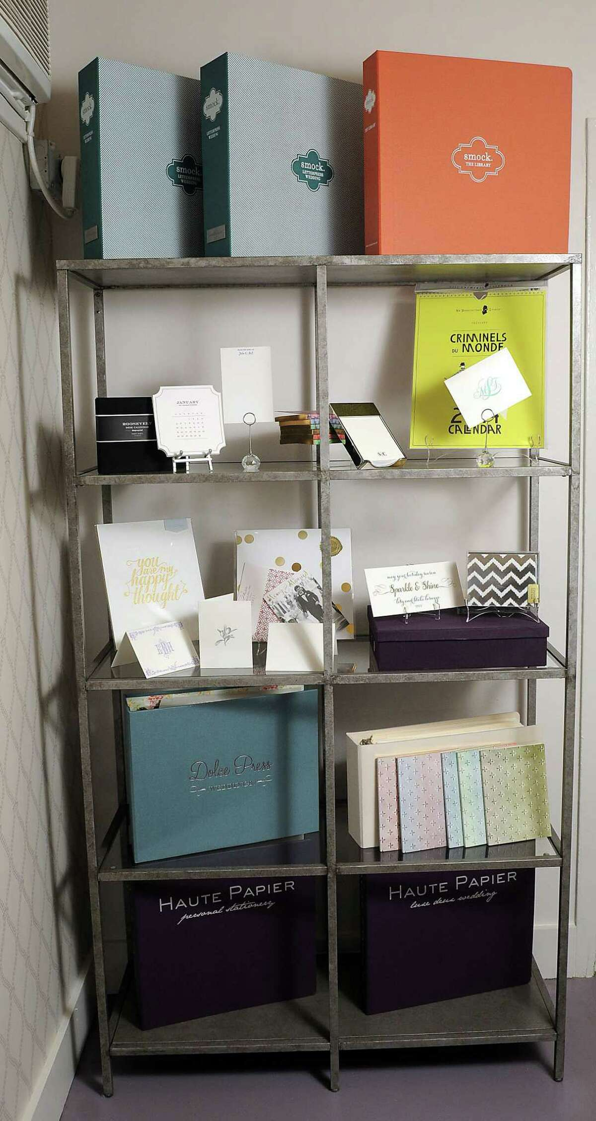 Some of the products for sale at Lily Lasuzzo's stationary store Lavender & Mint located inside the B2 furniture store on West Alabama Monday Jan 06, 2014.(Dave Rossman photo)