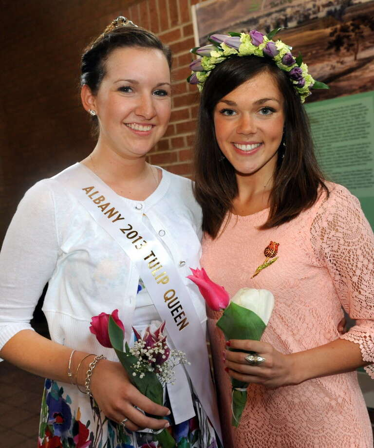Tulip Queen Kate Bender, left, is seen with outgoing Queen Emily Finnegan after the 2013 coronation in May 11, 2013. Nominations are now being taken for the 2014 queen and her court. (Cindy Schultz / Times Union archive)