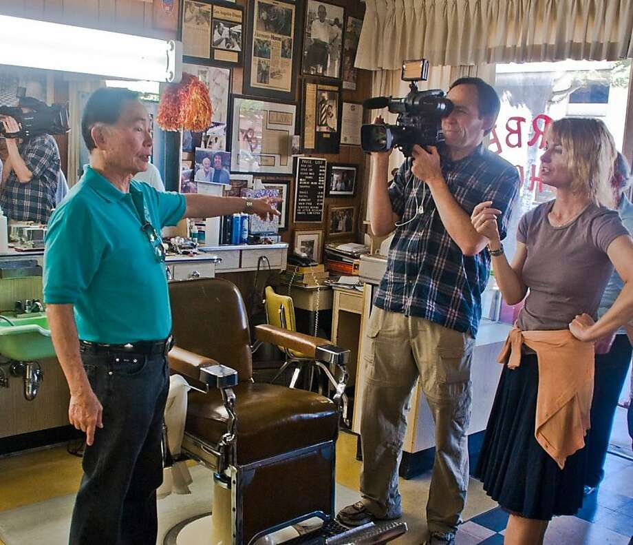 "George Takei, cinema- tographer Chris Million and director Jennifer Kroot during the filming of the docu- mentary ""To Be Takei."" Photo: Patrick Siemer"