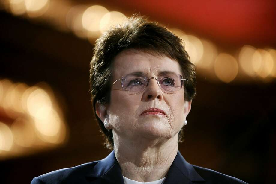 FILE - In this June 4, 2007, file photo, tennis champion Billie Jean King is introduced during a town hall conversation hosted by the group Women for Hillary in New York. The White House says King and U.S. Ambassador to Russia Michael McFaul will join the opening ceremony delegation. (AP Photo/Jason DeCrow, File) Photo: Jason DeCrow, Associated Press