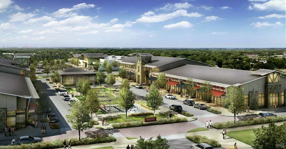 An artist's rendering of Creekside Village Green, a retail/office development in The Woodlands. The site is off Kuykendahl Road, between Creekside Forest Drive and Creekside Green Drive in the Village of Creekside Park.
