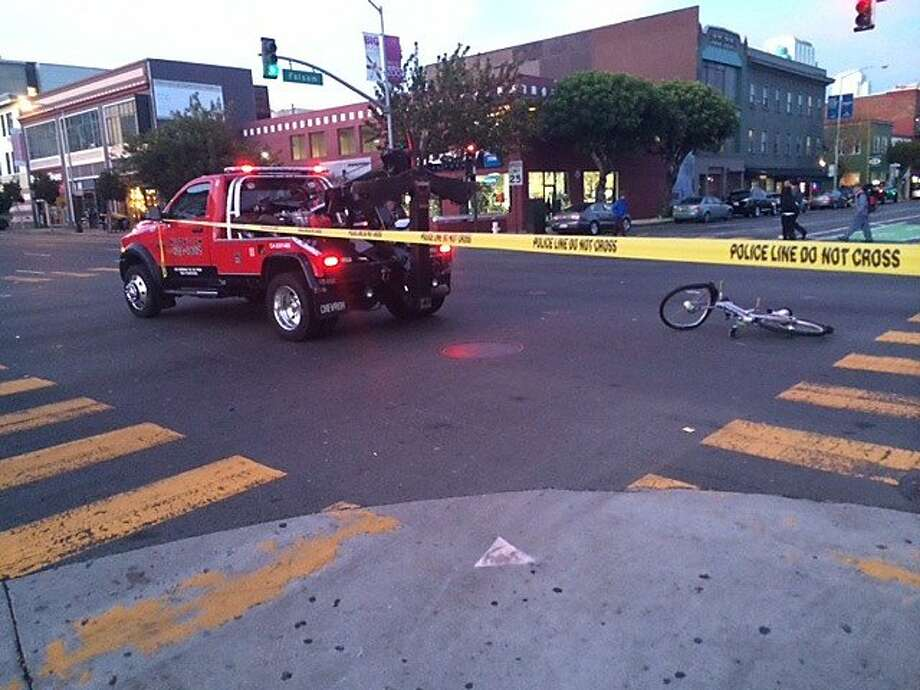 A bicyclist was struck by a tow truck in San Francisco's South of Market neighborhood on Wednesday, Jan. 8, 2014. Photo: Dan McMenamin, Bay City News Service