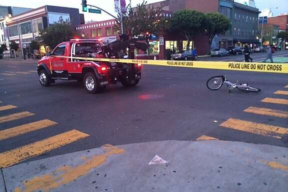 A bicyclist was struck by a tow truck in San Francisco's South of Market neighborhood on Wednesday, Jan. 8, 2014.