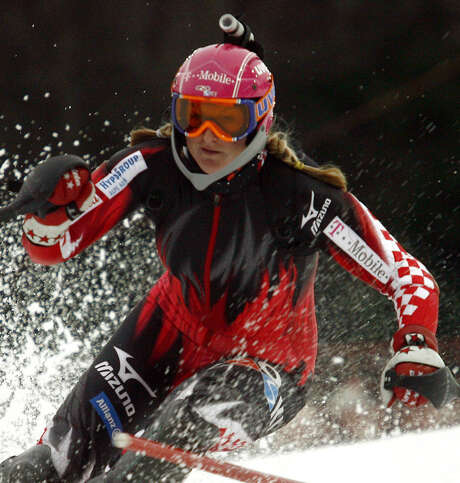 Slalom champion Janica Kostelic of Croatia skis with a camera on her helmet outside Zagreb in 2007. Such cameras have grown in popularity among skiers and other athletes. Photo: Associated Press File Photo / AP