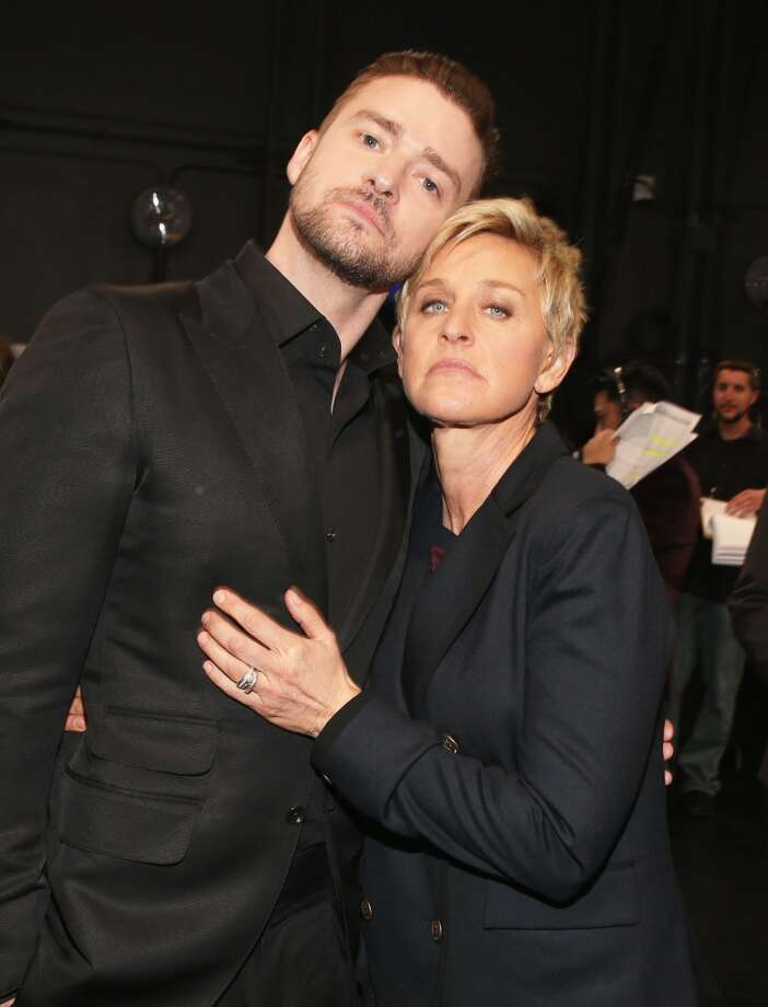 TV personality Ellen DeGeneres (R) and actor/singer Justin Timberlake attend The 40th Annual People's Choice Awards at Nokia Theatre L.A. Live on January 8, 2014 in Los Angeles, California.  (Photo by Christopher Polk/Getty Images for The People's Choice Awards) Photo: Christopher Polk