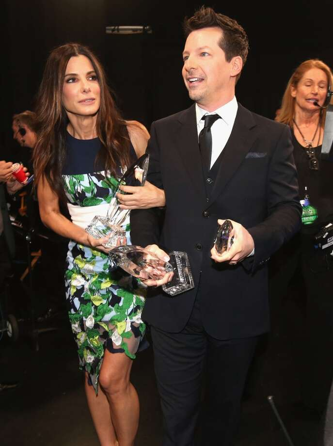 Actors Sandra Bullock (L) and Sean Hayes attend The 40th Annual People's Choice Awards at Nokia Theatre L.A. Live on January 8, 2014 in Los Angeles, California.  (Photo by Christopher Polk/Getty Images for The People's Choice Awards) Photo: Christopher Polk