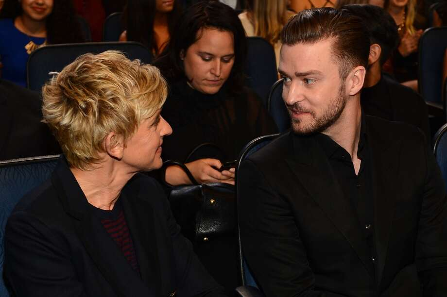TV personality Ellen DeGeneres (L) and recording artist Justin Timberlake attend The 40th Annual People's Choice Awards at Nokia Theatre L.A. Live on January 8, 2014 in Los Angeles, California.  (Photo by Mark Davis/Getty Images for The People's Choice Awards) Photo: Mark Davis