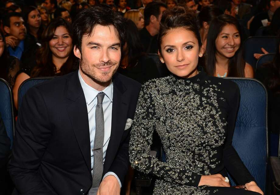 "Awkward! Or not... Ex-couple and ""Vampire Diaries"" actors Ian Somerhalder (L) and  Nina Dobrev attend The 40th Annual People's Choice Awards at Nokia Theatre L.A. Live on January 8, 2014 in Los Angeles, California.  (Photo by Mark Davis/Getty Images for The People's Choice Awards) Photo: Mark Davis"