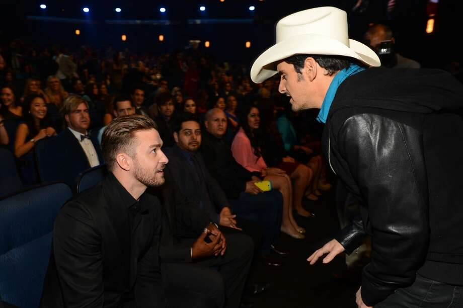 Recording artist Justin Timberlake (L) and recording artist Brad Paisley attend The 40th Annual People's Choice Awards at Nokia Theatre L.A. Live on January 8, 2014 in Los Angeles, California.  (Photo by Mark Davis/Getty Images for The People's Choice Awards) Photo: Mark Davis