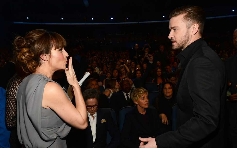 Actress Nikki Deloach (L) and recording artist Justin Timberlake attend The 40th Annual People's Choice Awards at Nokia Theatre L.A. Live on January 8, 2014 in Los Angeles, California.  (Photo by Mark Davis/Getty Images for The People's Choice Awards) Photo: Mark Davis