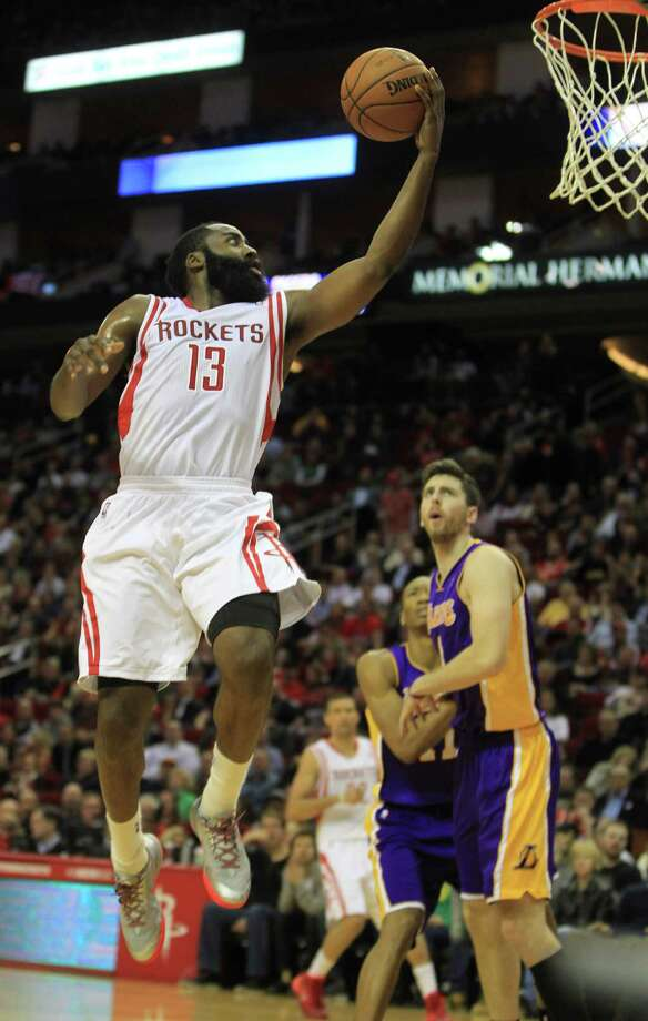Rockets guard James Harden was his usual reliable self offensively, soaring to a season-high 38 points, while turning it up defensively with five steals. Photo: Karen Warren, Staff / © 2013 Houston Chronicle