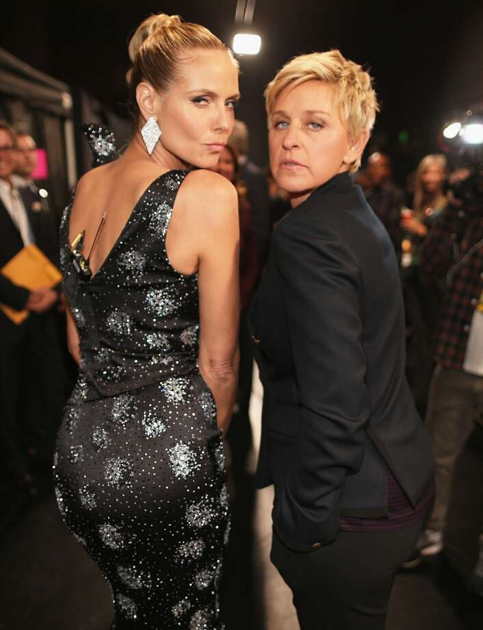 TV personalities Heidi Klum (L) and Ellen DeGeneres attend The 40th Annual People's Choice Awards at Nokia Theatre L.A. Live on January 8, 2014 in Los Angeles, California.  (Photo by Christopher Polk/Getty Images for The People's Choice Awards) Photo: Christopher Polk