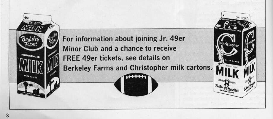 I've heard about kids sitting in the Christopher Milk section at Kezar Stadium, but was born too late to drink the product. Berkeley Farms bought Christopher Milk, and remained a sponsor for years. Photo: Pro! Magazine/Figone Family Collection