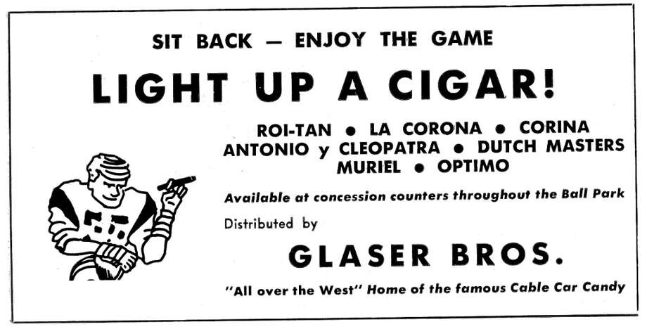 Smoking wasn't just accepted at Candlestick Park in the 1970s, it was actively encouraged. The Glaser Bros. must have made their money with the Giants. I remember more dudes with stogies at baseball games. Photo: Pro! Magazine/Figone Family Collection