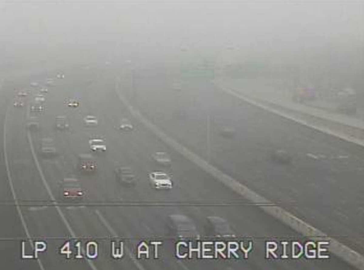 The National Weather Service has issued a dense fog advisory until 10 a.m. for the Interstate 35 corridor, the Hill Country and the coastal plains. Here's a look at Texas Department of Transportation's traffic camera at Loop 410 and Cherry Ridge. Click ahead to see more images from TxDOT's cameras.