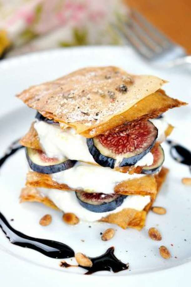 IN: Savory desserts. Think roasted red-pepper sorbet,  spicy-ginger chocolate mousse, or this mille feuille with figs, ricotta,  toasted pine nuts, black pepper and balsamic glaze. Just hold the bacon  chocolate. Photo: Courtesy