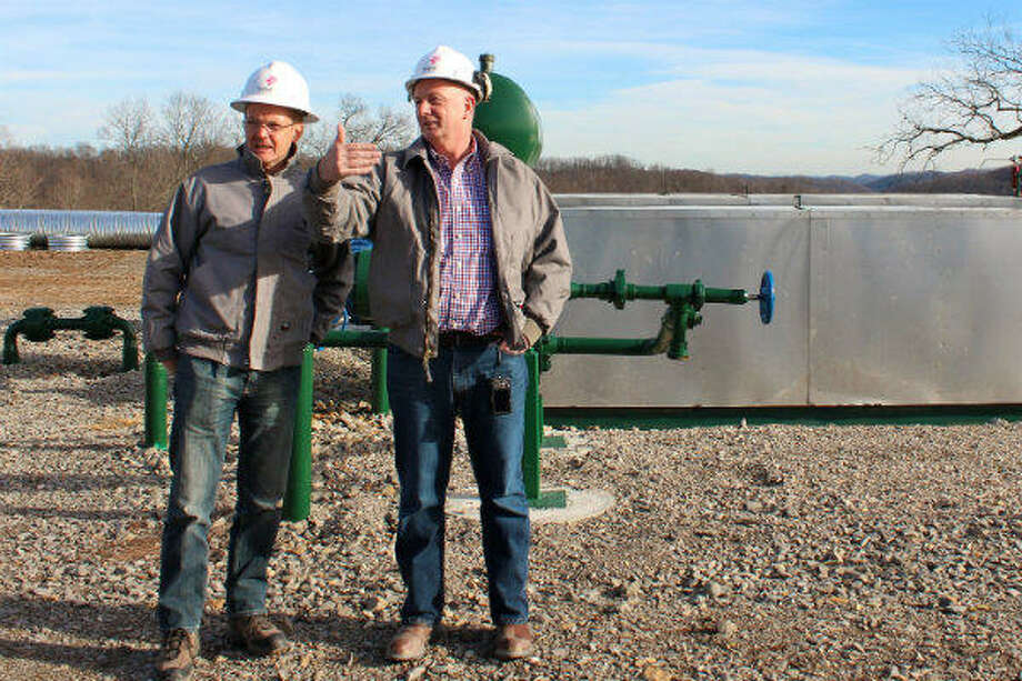 Statoil's Torstein Hole, senior vice president for U.S. onshore, and Andy Winkle, vice president for the Marcellus asset, visit a well pad in the Marcellus shale. Photo: Statoil