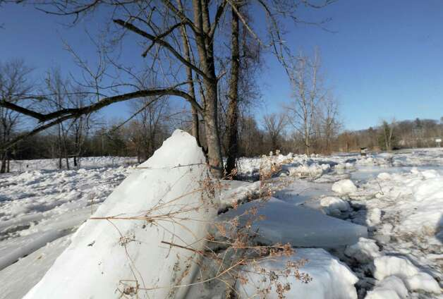 An ice jam on the Kayaderosseres Creek at Williams Kelley Park on Thursday Jan. 9, 2014 in Ballston Spa, N.Y. (Michael P. Farrell/Times Union) Photo: Michael P. Farrell / 00025305A