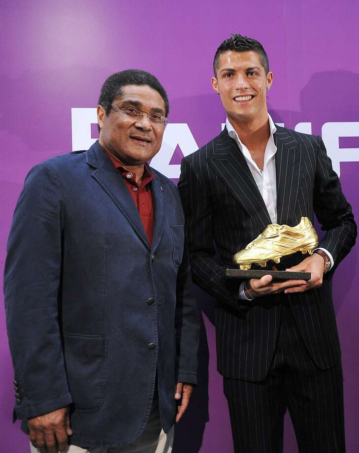 Two Portuguese greats - the late Eusebio (left) and current national team star Cristiano Ronaldo. Photo: Helder Santos, Associated Press