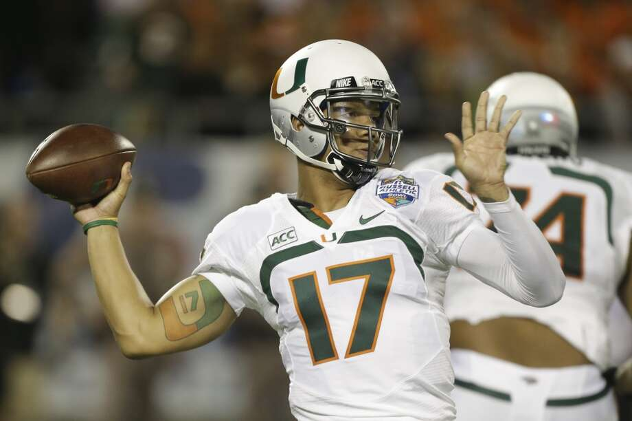 Stephen Morris  Miami  Senior  6-2, 220 pounds  Career stats: 7,896 yards passing, 49 TD, 30 INT, 57.7 completion percentage  The Miami signal-caller owns the school and ACC record for most passing yards in a game. Photo: John Raoux, Associated Press