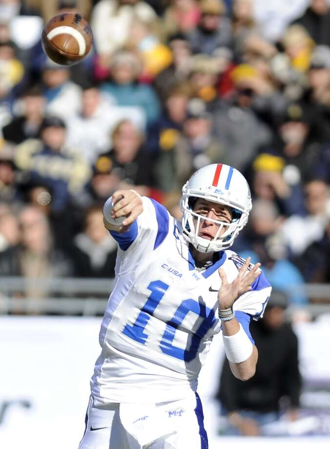 Logan Kilgore   Middle Tennessee  Redshirt senior  6-2, 205 pounds  Career stats: 7,849 yards, 53 TD, 36 INT, 61 completion percentage Photo: Matt Strasen, Associated Press