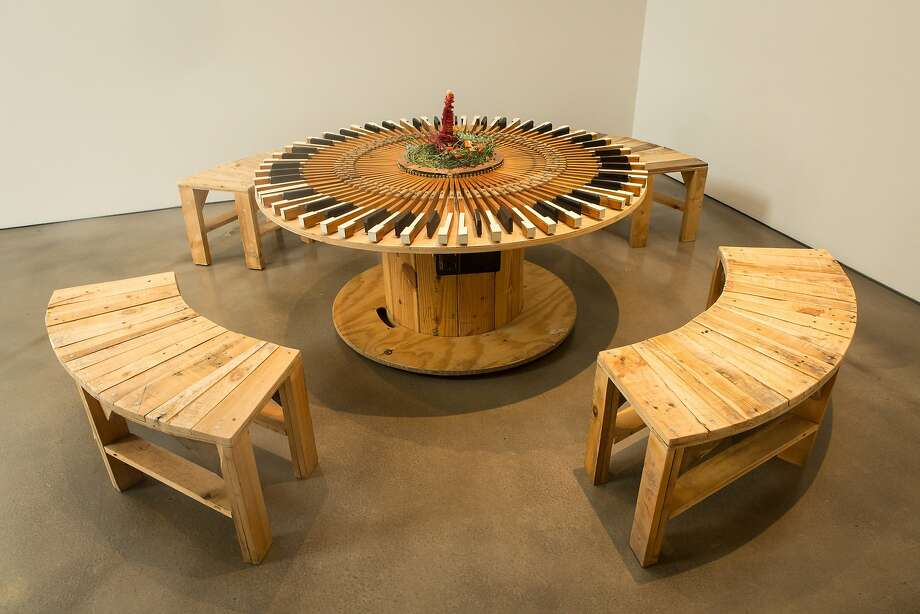 """Terry Berlier's """"Where the Beginning Meets the End"""" (2013), 88 piano keys, Mac mini, keyboard microcontroller, wire, wire nuts, wood spool, wood, copper pipe, screws and speakers. Photo: David Pace"""