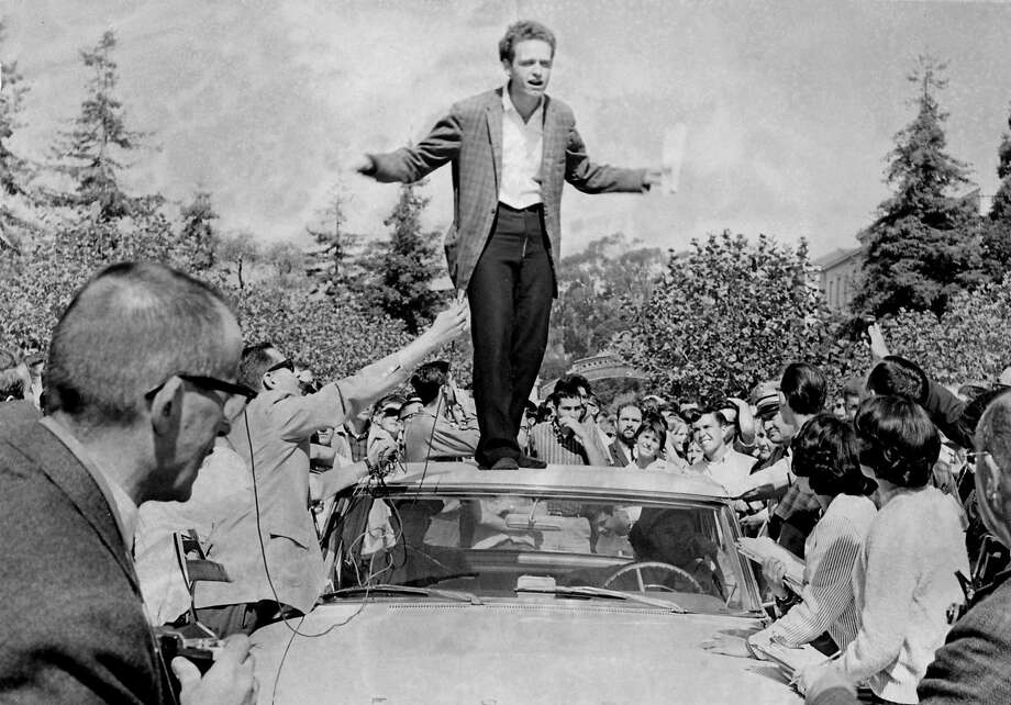 1964 --- UC philosophy student Mario Savio became the leader of the Free Speech Movement after exhorting protesters from atop a car in 1964. Photo: Duke Downey / The Chronicle / Co, WGBH Boston