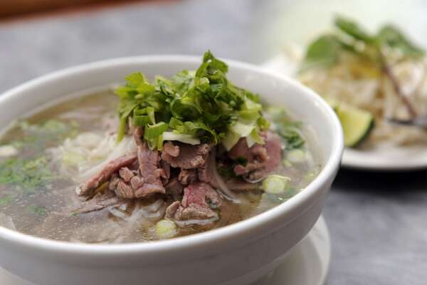 Pho Tai with tender beef slices and a side of basil, bean sprouts and lime, are on the menu at Pho Vietnam. Pho Vietnam is in Danbury, Conn.