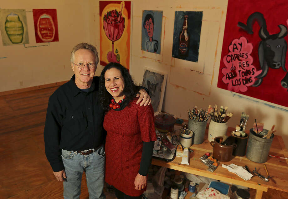 Kent Rush and wife Victoria Suescum create art in a converted garage behind their home. They're exhibiting their work together, for the first time, at REM Gallery. Photo: Edward A. Ornelas / San Antonio Express-News / © 2014 San Antonio Express-News