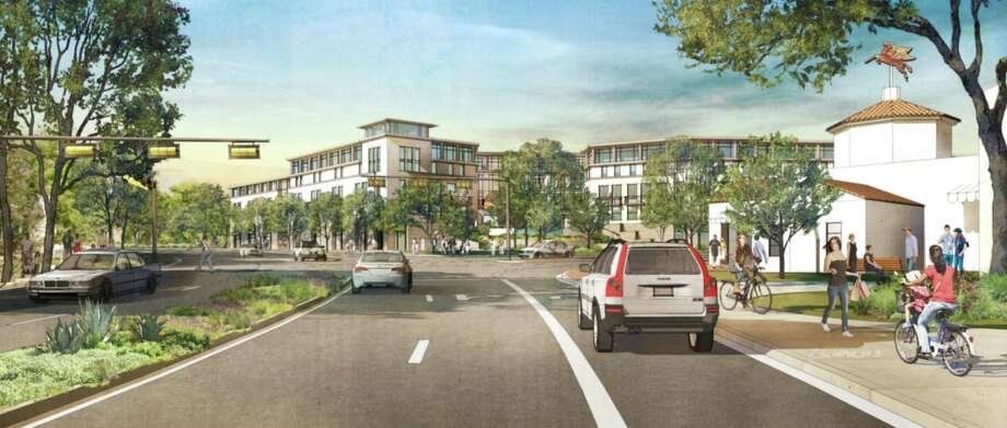 This artists rendering depicts the proposed mixed-use midrise, Alamo Heights Gateway, at a maximum height of 55 feet. This is seen approaching Austin Highway on northbound Broadway. Photo: Courtesy Illustration