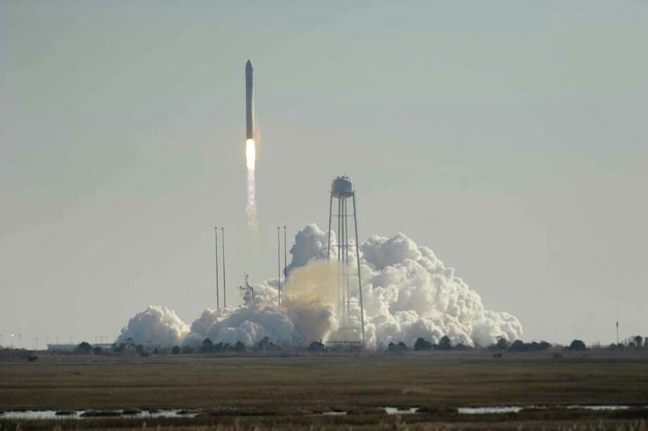 Orbital Science Corps.' rocket lifts off from Wallops Island, Va., Thursday carrying its first official re-supply mission to the International Space Station. Photo: Jay Diem, MBR / Eastern Shore News