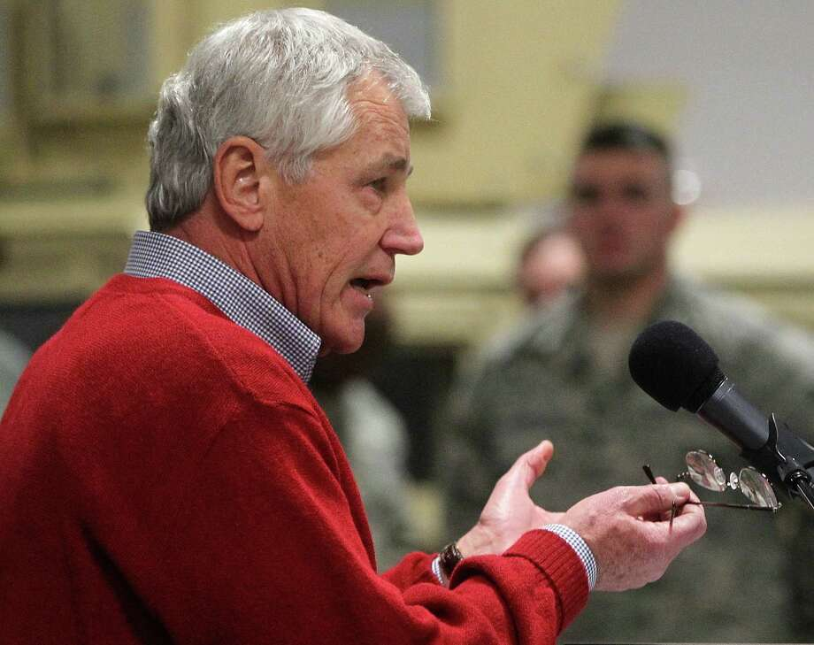 Defense Secretary Chuck Hagel offers encouragement Thursday to members of the 90th Missile Wing at F.E. Warren Air Force Base in Cheyenne, Wyo. Photo: Michael Smith, MBO / Wyoming Tribune Eagle