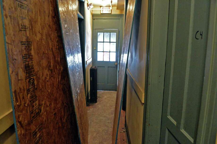 Apartment house hallway above the Kreusi Ave. Pub, scene of yesterday's fire Thursday, Jan. 9, 2014, at 1302 Lower Broadway in Schenectady, N.Y.  (John Carl D'Annibale / Times Union) Photo: John Carl D'Annibale / 00025302A