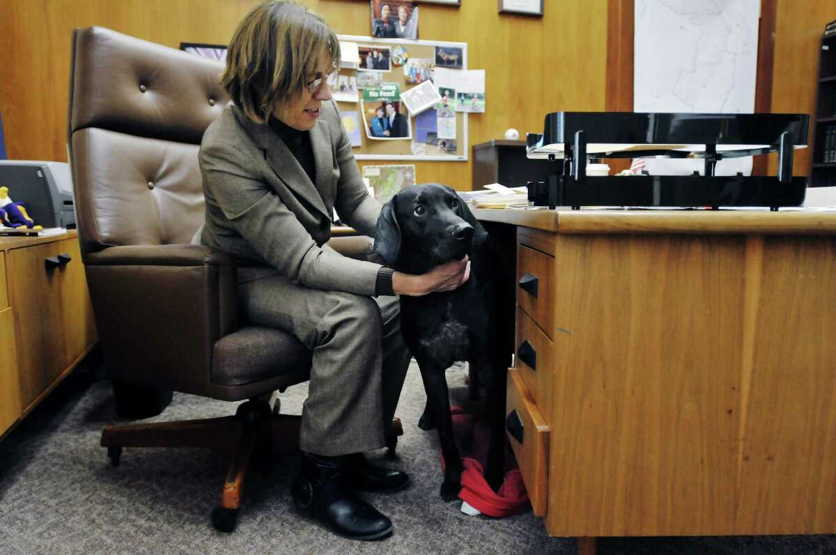 State Senator Cecilia Tkaczyk with her dog Bayou at her office inside the Legislative Office Building on Thursday, Jan. 9, 2014 in Albany, NY. Tkaczyk is introducing legislation that will make the failure to provide adequate shelter for dogs a misdemeanor, rather than a violation. (Paul Buckowski / Times Union)