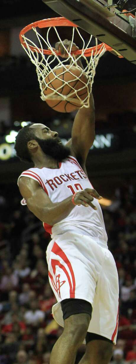 The Rockets' James Harden scored 38 points in 38 minutes in Wednesday's 113-99 win over the Lakers. Photo: Karen Warren, Staff / © 2013 Houston Chronicle