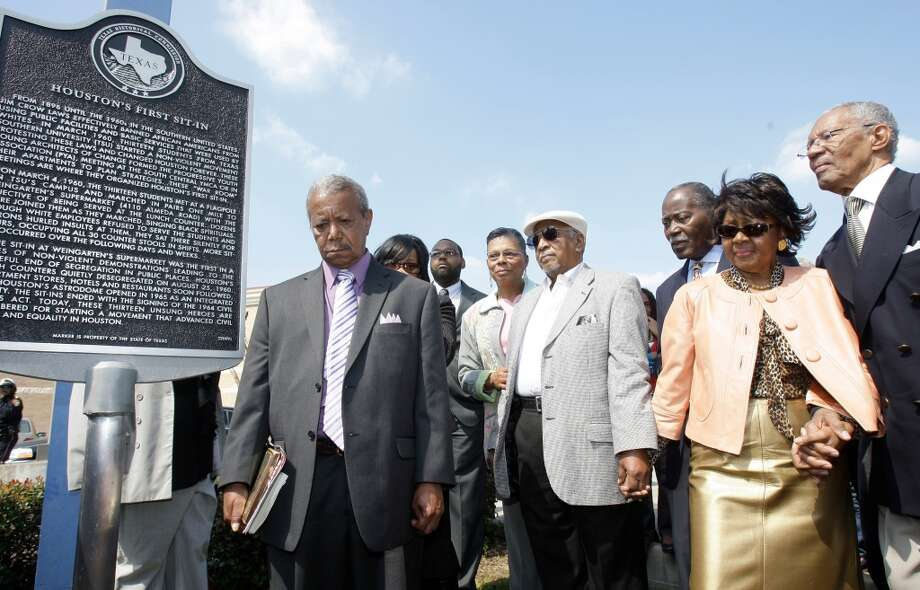 Eldrewey Sterns, left, James Barron, (white hat), Rev. Earl Allen, Eddye Ridgsby Hamilton and Rev. Bill Lawson, right, during a ceremony commemorating the 50th anniversary of the sit-in. ( Melissa Phillip | Houston Chronicle )