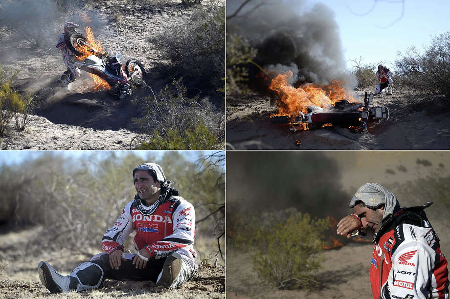 A combination of pictures taken on January 9, 2014 shows Portuguese Paulo Goncalves watching his Honda on fire  during the Stage 5 of the Dakar 2014 between Chilecito and Tucuman, Argentina. Photo: FRANCK FIFE, AFP/Getty Images / 2014 AFP