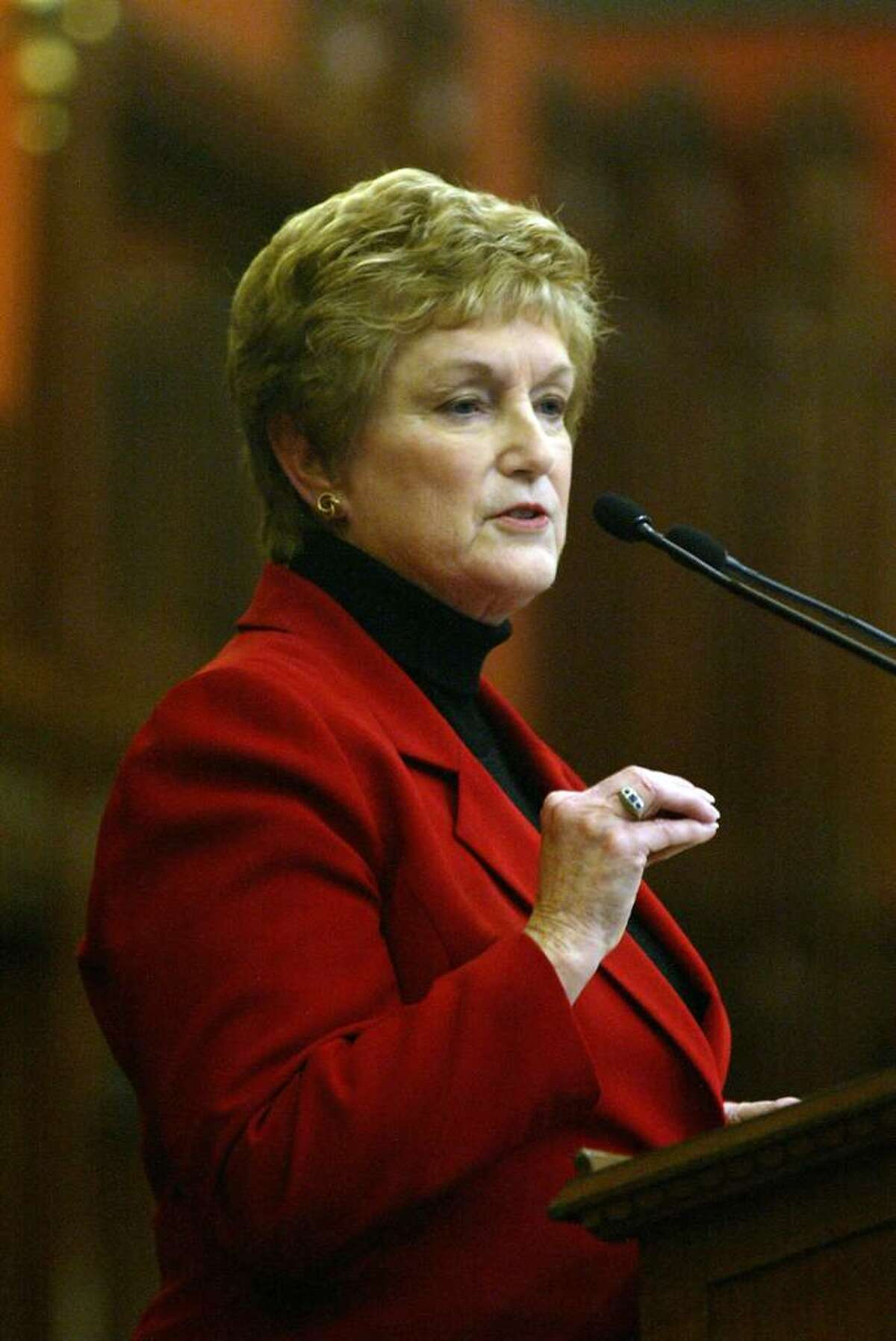 Governor, M. Jodi Rell gives her annual budget address, Wednesday, Feb. 3, 2010, at the State Capital in Hartford.