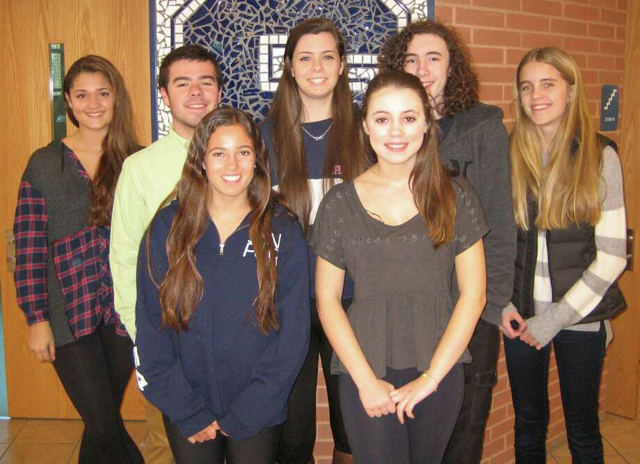 STAPLES STUDENTS OF THE MONTH Staples High School honored nine students as its Students of the Month for January. Each month, Staples cites students for citizenship and doing positive things that might not otherwise earn recognition. January honorees are, front row from left: Julia Greenspan and Samantha Sheppard. Back row: Emily Eldh, Thomas Aldrich, Meredith Bemus, Kieran Winser and Amelia Hunt. Also honored but absent when the photo was taken were Chase Emilio and Jonah Levine. Photo: Contributed Photo / Westport News