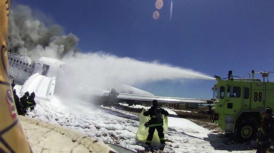 The helmet-mounted camera shows the chaos when the Asiana flight crashed in July. Photo: Associated Press