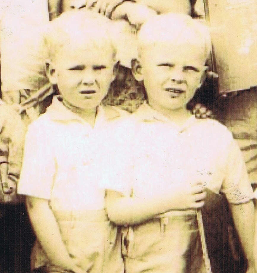 Detail from a Frances Thompson school photo showing twins. From the collection of Bob Bragman
