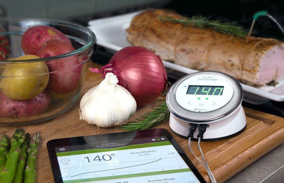 8) iDevices Kitchen Thermometer. $39.99/$79.99. Available now.  You've got a delicious dish cooking in the kitchen, but you'd like to step out for a second and smoke a bowl. Make sure you don't burn your grub with an iDevices kitchen thermometer. Stick it into whatever you're cooking and it sends information to any iOS device, making it possible to monitor temperature from anywhere. So go ahead and spark it up while waiting for the water to boil. A two-probe version that can monitor two different temperatures at the same time is available now for $79.99, while a mini one-probe version can be pre-ordered for $39.99 and comes out in June.