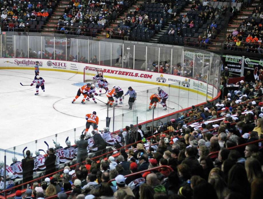 A good crowd on hand for Saturday's Devils vs. Adirondack Phantoms hockey at the Times Union Center in Albany Jan. 28, 2012. Unfortunately, it looks like the Phantoms will be leaving Glens Falls after the 2013-2014 season. Photo: John Carl D'Annibale, Albany Times Union / 10015984D
