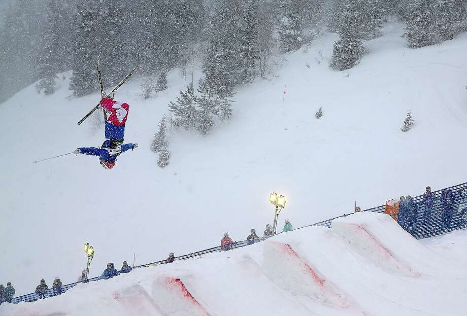 French flip: Perrine Laffont of France tries to qualify for the women's moguls event at the FIS Freestyle Ski World Cup at Deer Valley, Utah. Photo: Mike Ehrmann, Getty Images