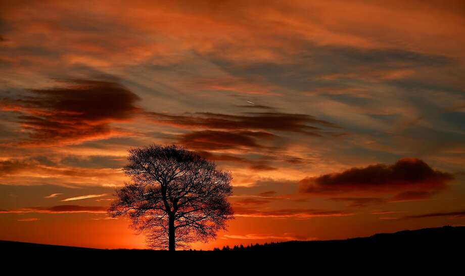 A break from the rain: The sun, which has rarely been seen in England in recent weeks, rises in a fiery sky behind the fields near Pershore. Photo: David Davies, Associated Press