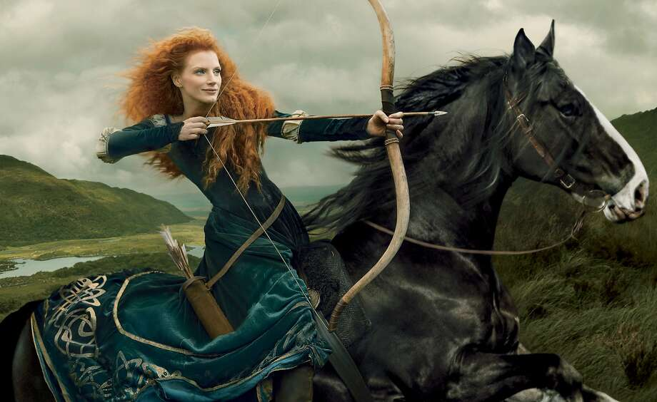 "'Brave' art: A photo illustration by Annie Leibovitz shows actress Jessica Chastain portraying Disney character Merida from the animated film ""Brave."" Chastain is the latest celebrity to portray a Disney character for the Disney Dream Portrait series by Leibovitz. Photo: Annie Leibovitz, Associated Press"