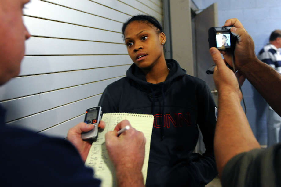UConn's Moriah Jefferson speaks to the media after basketball practice at the Webster Bank Arena in downtown Bridgeport, Conn. on Friday January 10, 2014. Photo: Christian Abraham / Connecticut Post