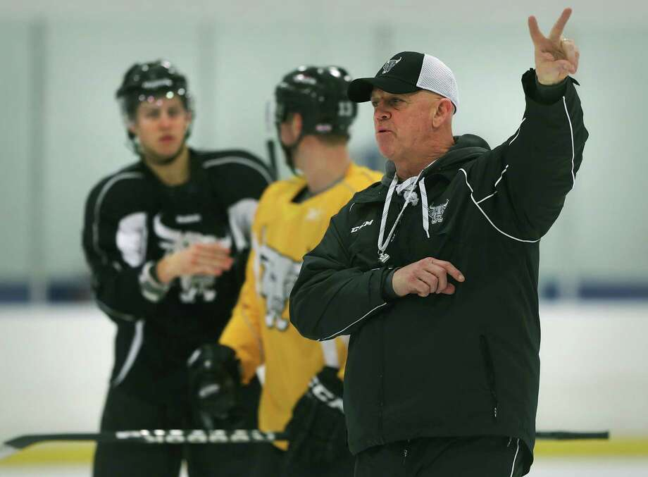 Rampage coach Tom Rowe runs through a practice with the team at the Ice and Golf Center. Friday, Jan. 10, 2013. Photo: BOB OWEN, San Antonio Express-News / © 2012 San Antonio Express-News