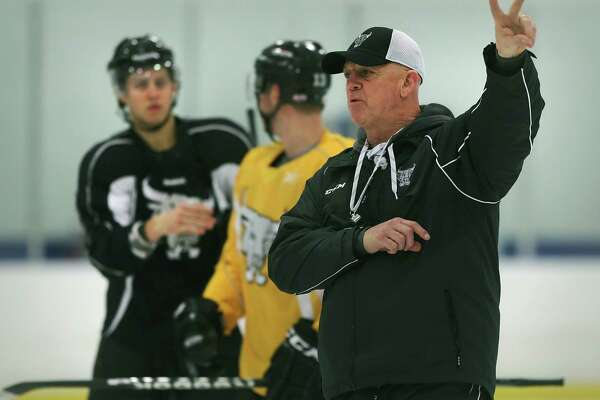 Rampage coach Tom Rowe runs through a practice with the team at the Ice and Golf Center. Friday, Jan. 10, 2013.