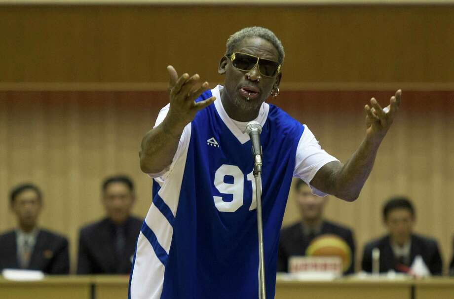 "A reader mocks the diplomatic overtures of former NBA star Dennis Rodman, shown here singing ""Happy Birthday"" to North Korean leader Kim Jong Un. Photo: Kim Kwang Hyon / Associated Press / AP"